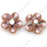 Fimo Flower Beads 25mm,Coffee/White