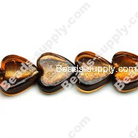 Glass Silver Foiled Heart Beads 18mm