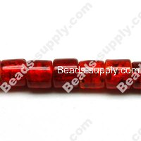 Glass Silver Foiled Tube Beads 15x15mm
