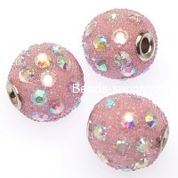 Indonesia Jewelry Beads, Drum shape,handmade with glass seed beads and rhinestone,pink color