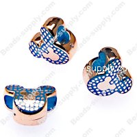 Large hole beads,mickey rose gold plated,lattice,grid,blue color