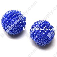Round Acrylic-Glass Beads 18mm ,Blue