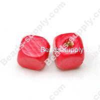 Wood Square Bead 12x12mm,Red