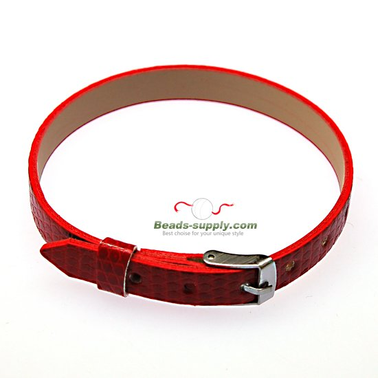 8mm DIY P.leather bracelet,fits for 8mm slide charms,red - Click Image to Close