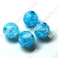 Acrylic Crackled beads ,Round Beads 10mm ,Blue