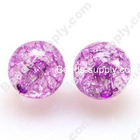 Acrylic Crackled beads ,Round Beads 16mm ,Purple