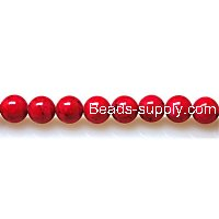 Bead ,Dyed Fossil beads ,round 8mm , red