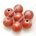 Bead,acrylic shimmering beads,red,wrinkle Round Beads 6mm