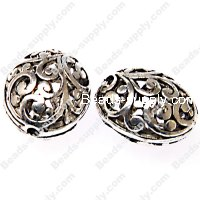 "Bead,antiqued""pewter"" (zinc-based alloy), 16x14x11mm filligree oval. Sold per pkg of 150"