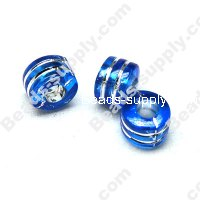 Bead,resin with silver-color foil, Saphhire, 6*9mm