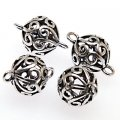 Charms,brass 10mm filligree round charms ,antique silver . Sold of 20 PCS