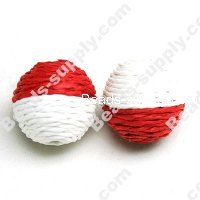 Crochet Beads 22mm ,Red with White