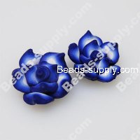 Fimo Flower Beads 25mm,Blue