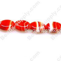 Foiled glass Oval Beads 14*18mm Red
