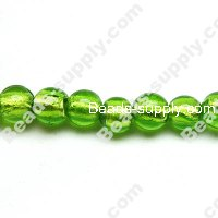 Glass Silver Foiled Round Beads 12mm