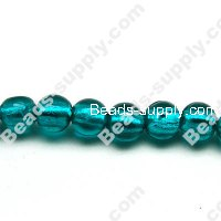 Glass Silver Foiled Round Beads 16mm