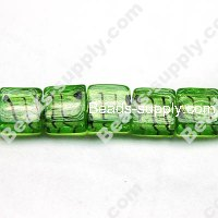 Glass Silver Foiled Square Beads 12x12mm