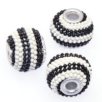 Indonesia Jewelry Beads, Drum shape,handmade beads with colorful ball chain,white/black