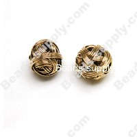 Metal Wired Antique-Gold Plated Beads 10mm