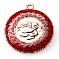 Pendants,2x31mm Rose round pendant,golden plating,red enamel pendant,Sold of 10 pieces per pkg