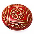 Plating Acrylic Beads, Golden Metal Enlaced, Corrugated Flat Round, Red, 21x9mm, Hole: 1.8mm