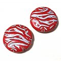 Plating Acrylic Beads, Silver Metal Enlaced, Corrugated Round, Red, 26x8mm, Hole: 1.8mm
