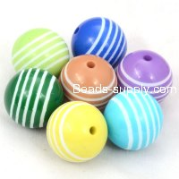 18mm engraved Laminated strips Carved acrylic round beads,fuchsia