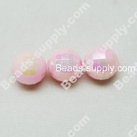 6 MM Acrylic Football Beads , AB Colored , Lt Pink