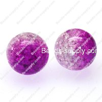 Acrylic Crackled beads ,Round Beads 12mm ,purple color