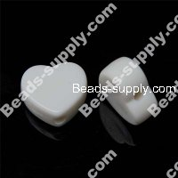 Acrylic Solid White Heart Beads