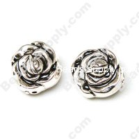 Antique Silver Plated Acrylic Flower Beads
