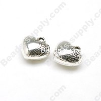 Antique Silver Plated Acrylic Heart Beads 11x18mm
