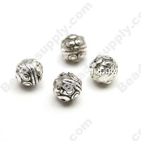 Antique Silver Plated Acrylic Round Beadss 9mm