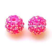 Bead,Round Resin Pave Beads,Hot Pink Base,Hot Pink AB,Sold 100 Pcs Per Package