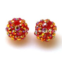 Bead,Round Resin Pave Beads,Lt Siam Base,Lt Siam AB,Sold 100 Pcs Per Package