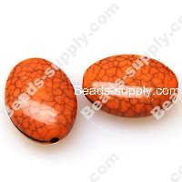 Bead, crackle acrylic, orange color, 20x15x8mm flat oval. Sold per pkg of 340 PCS