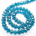 Bead,glass,AB plated crystal,blue zircon, 4x6mm faceted rondelle. Sold per 10 strands.