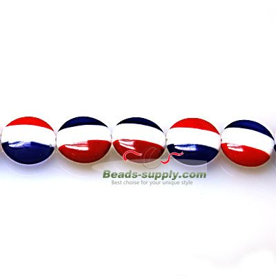Bead, lampworked glass, blue/white/red, 12mm double-sided flat round with French flag design - Click Image to Close