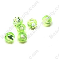Bead,resin with silver-color foil, Peridot, 6mm Round