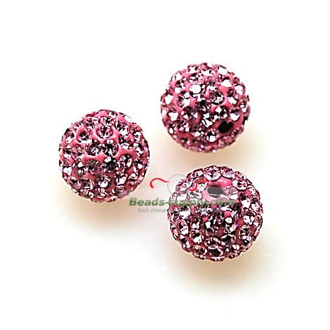 Beads,Pave Polyclay Round Beads 8mm , Lt Rose - Click Image to Close