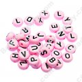 Beads,solid acrylic Alphabet Beads ,4x7mm,pink ,assorted letters
