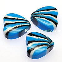 Beads,stripes damasks resin heart beads ,10x21mm heart beads,aquamarine color