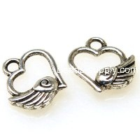 "Charm,antiqued""pewter"" (zinc-based alloy), 12x13mm filligree heart wing. Sold per pkg of 500"