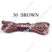 Cord, Bugtail, satin, brown, 1.2mm.