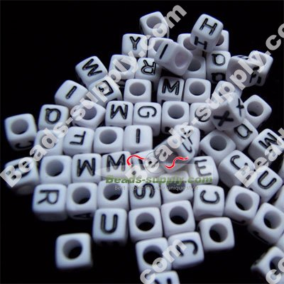 Cube Alphabet Beads 7*7mm - Click Image to Close