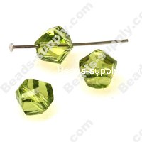 Faceted Twist Glass Beads 10 mm,Lt Olivine