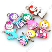 Fimo Girl Pendant 19*29mm,Assorted