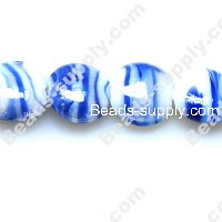 Foiled glass Coin Beads 15mm Blue