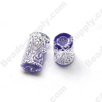 Gilding Silver Line Tube Beads 9mm*15mm ,Blue