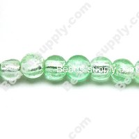 Glass Silver Foiled Round Beads 10mm